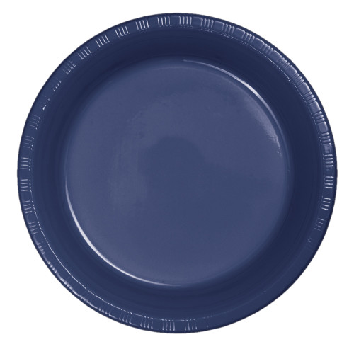 """Club Pack of 240 Navy Blue Plastic Party Banquet Dinner Plates 9"""" - IMAGE 1"""
