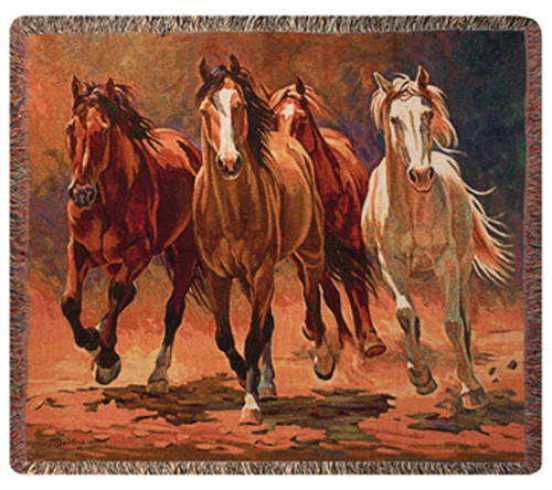"""Hoofbeats and Heartbeats Majestic Horses Tapestry Throw Blanket 50"""" x 60"""" - IMAGE 1"""