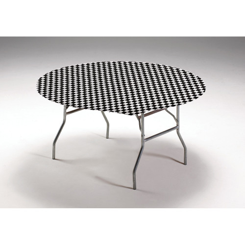 """Club Pack of 12 Black and White Checkered Round Disposable Plastic Banquet Party Table Covers 60"""" - IMAGE 1"""