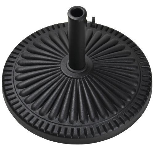 "22"" Matte Black Ridged Adjustable Outdoor Patio Umbrella Base - IMAGE 1"