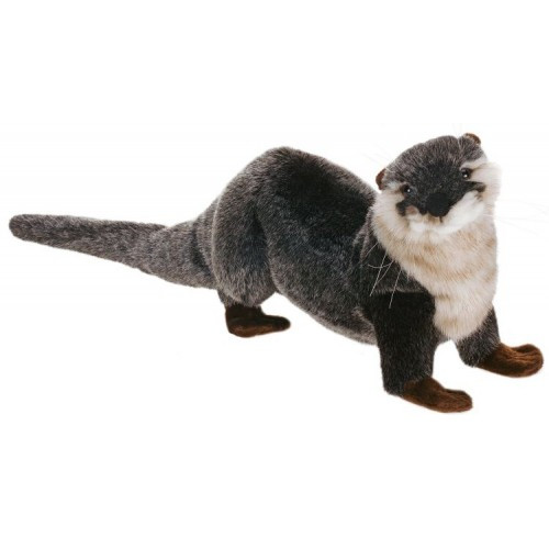 "Set of 3 Gray and Ivory Handcrafted River Otter Stuffed Animals 9.5"" - IMAGE 1"