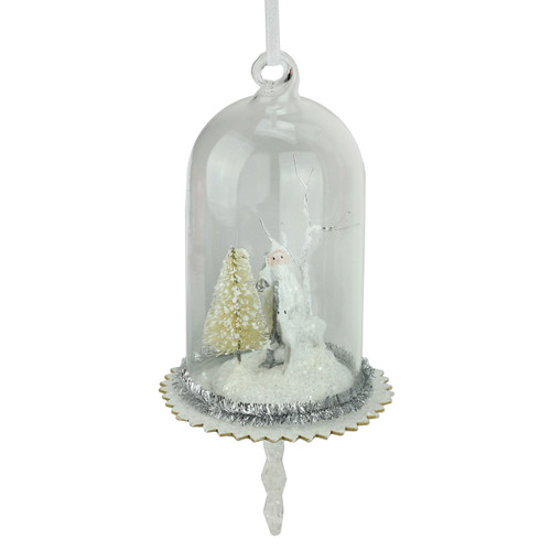 """5.5"""" White Santa, Reindeer and Trees in Glass Dome Christmas Ornament with Snowflake Dangle - IMAGE 1"""