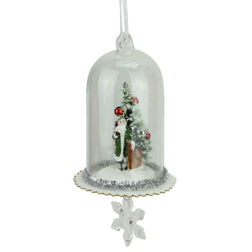 """5.5"""" Green Santa, Reindeer and Trees in Glass Dome Christmas Ornament with Snowflake Dangle - IMAGE 1"""