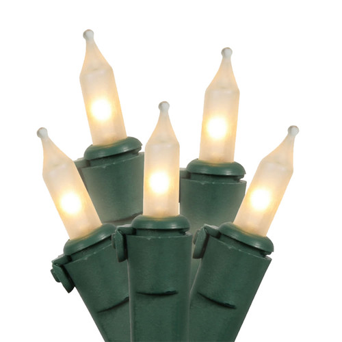 100-Count Frosted Clear Mini Christmas Light Set, 25.5 ft Green Wire - IMAGE 1