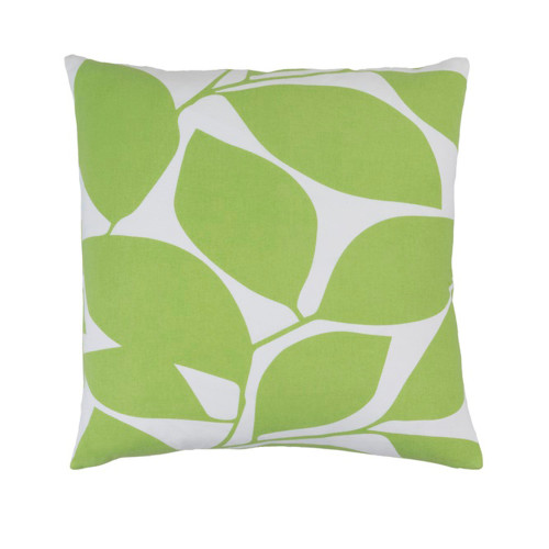 """20"""" Lavish Leaves Celery Green and White Decorative Throw Pillow - Polyester Filled - IMAGE 1"""