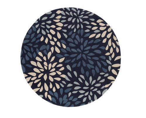 8' Contemporary Blue and Gray Hand Tufted Round Area Throw Rug - IMAGE 1