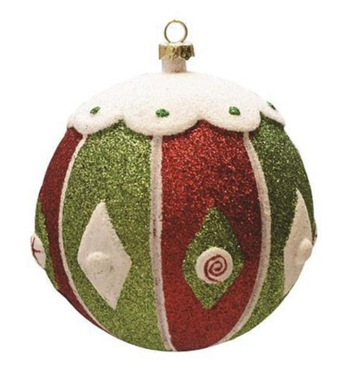 "Glittered Red and Green Shatterproof Christmas Ball Ornament 4"" (100mm) - IMAGE 1"