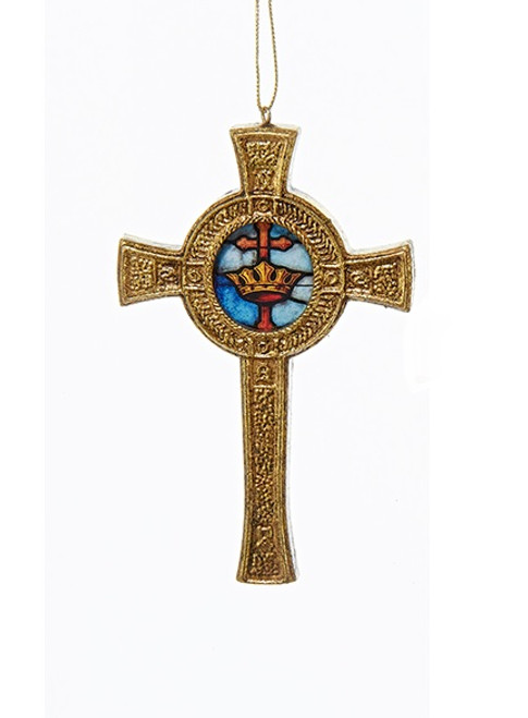 "4.5"" Decorative Gold Round Cross with Faux Stained Glass Hanging Christmas Ornament - IMAGE 1"