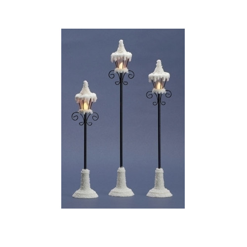 """Set of 3 LED Lighted Snowy Victorian-Style Christmas Village Lamp Posts 16"""" - IMAGE 1"""