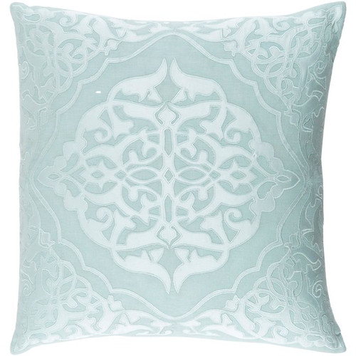 """18"""" Mint Green and Pastel Blue Decorative Square Throw Pillow - Down Filler - IMAGE 1"""