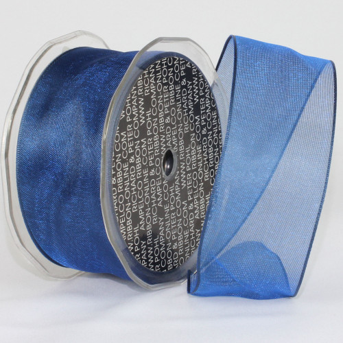 """Navy Blue Color Wired Craft Ribbon 1.5"""" x 27 Yards - IMAGE 1"""