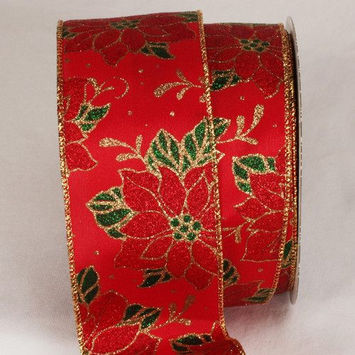 """Red and Gold Poinsettia Wired Craft Ribbon 2.5"""" x 20 yards - IMAGE 1"""