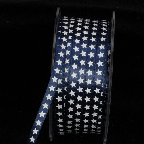 """Blue and White Star Print Woven Edge Craft Ribbon 0.25"""" x 200 Yards - IMAGE 1"""
