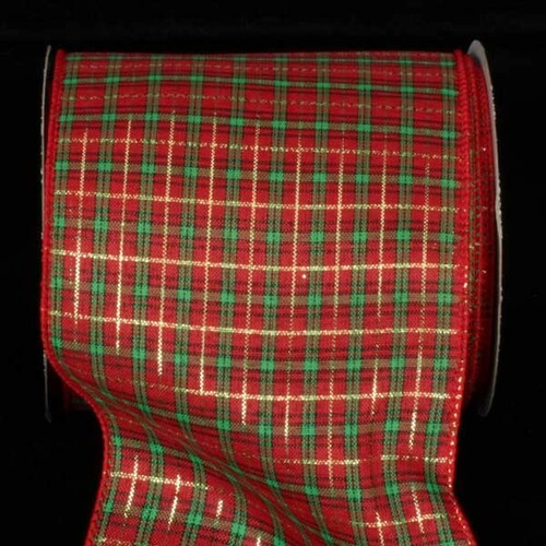"""Red and Green Tartan Plaid Wired Craft Ribbon 5"""" x 40 Yards - IMAGE 1"""