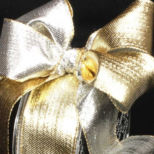 """Shimmering Silver and Gold Two-Color Woven Wired Craft Ribbon 1.5"""" x 54 Yards - IMAGE 1"""