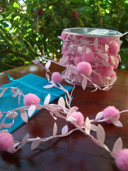 """Pink Leaves with Pom Pom Wired Craft Ribbon Garland 0.75"""" x 22 Yards - IMAGE 1"""