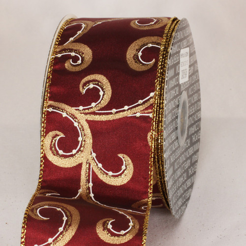 "Burgundy Red and Gold Swirly Whirl Wired Craft Ribbon 2.5"" x 40 Yards - IMAGE 1"