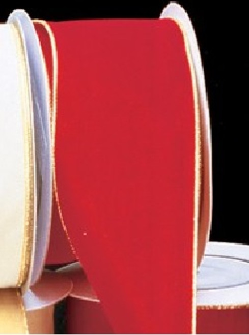 """Red and Gold Solid Wired Craft Ribbon 2"""" x 40 Yards - IMAGE 1"""