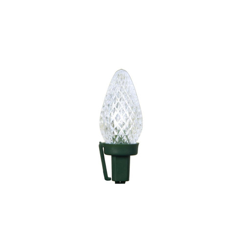 100 Commercial White LED Faceted C7 Christmas Lights - 41 ft Green Wire - IMAGE 1