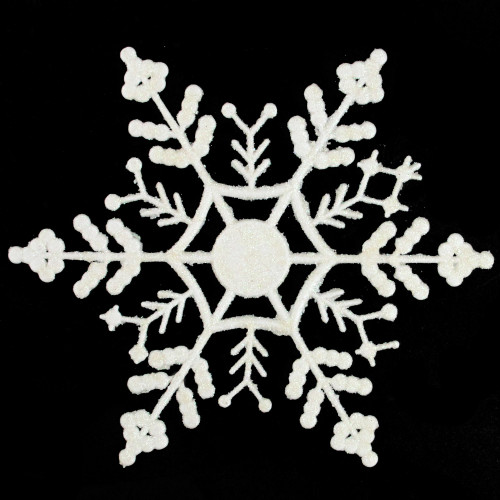 """12ct White Glitter Snowflake Hanging Christmas Ornaments 6.25"""" - IMAGE 1"""