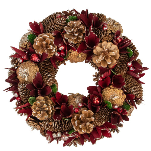 Red Glittered Pine Cone Artificial Floral Wreath - 13-Inch, Unlit - IMAGE 1