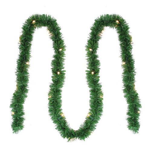 "12' x 2.5"" Pre-Lit Green Pine Artificial Christmas Garland - Clear Lights - IMAGE 1"