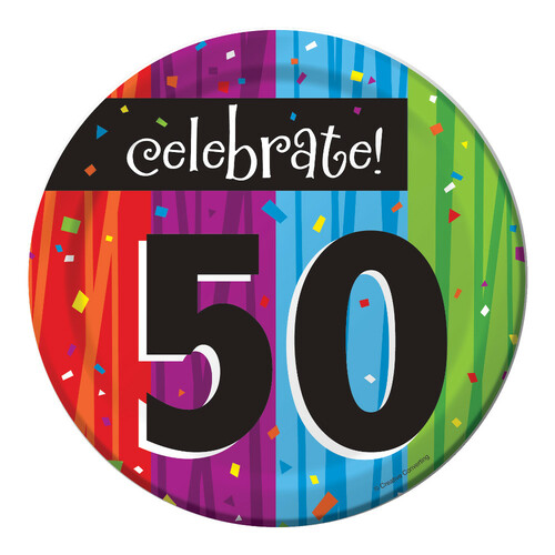 "Club Pack of 96 Milestone Celebrations ""Celebrate 50"" Disposable Paper Party Lunch Plates 7"" - IMAGE 1"