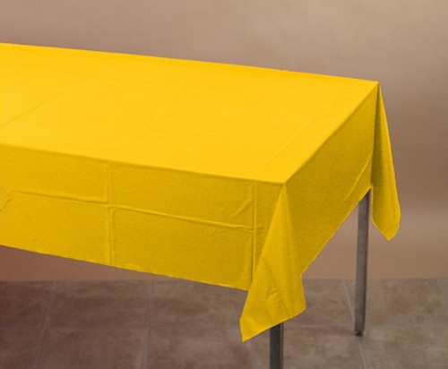 Pack of 6 Yellow Disposable Banquet Party Table Covers 9' - IMAGE 1