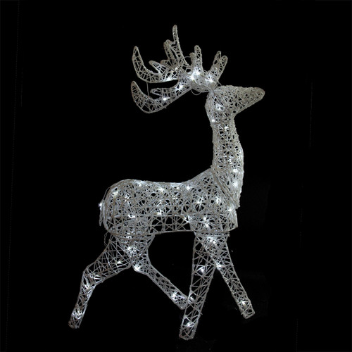 "52"" LED Lighted Elegant White Glittered Reindeer Christmas Outdoor Decoration - IMAGE 1"