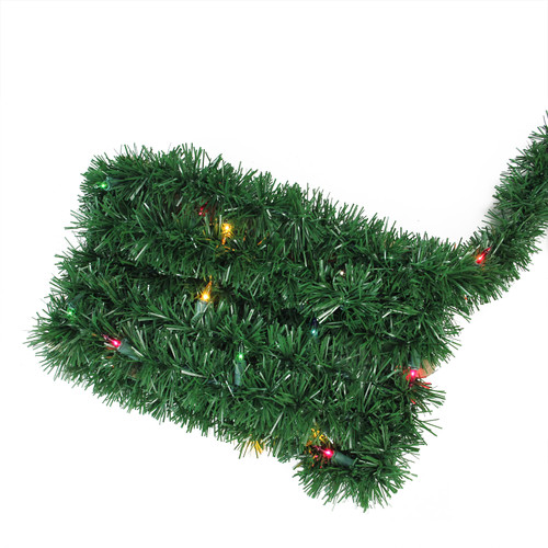 "13.3' x 2.5"" Pre-Lit Green Pine Artificial Christmas Garland - Multi Lights - IMAGE 1"