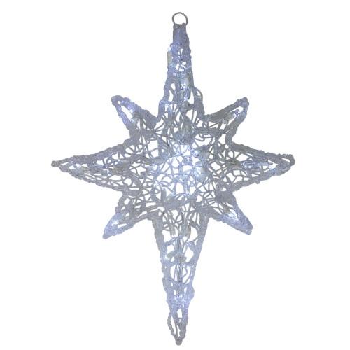"""24"""" LED Lighted White Twinkle Hanging Star of Bethlehem Christmas Decoration - IMAGE 1"""