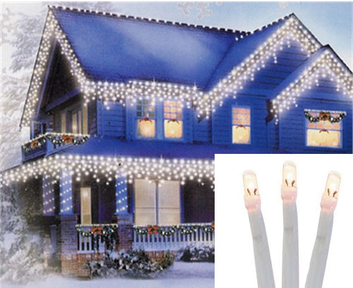 96 Warm White Twinkling LED Christmas Icicle Lights - 11.48 ft White Wire - IMAGE 1