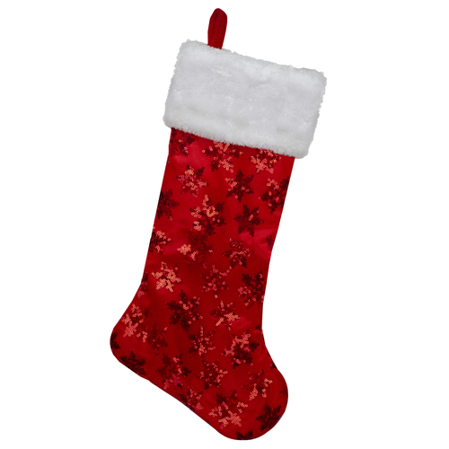 "20.5"" Red and White Sequin Snowflake Christmas Stocking - IMAGE 1"