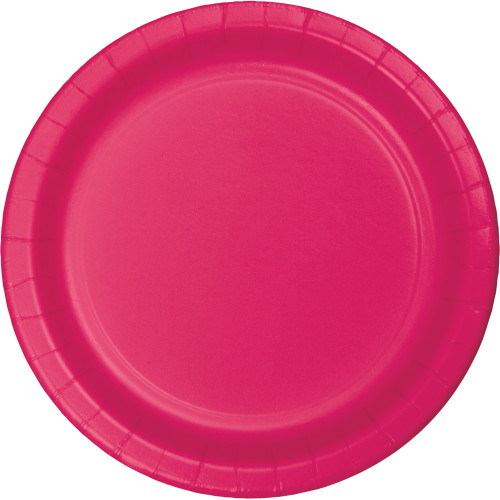 """Club Pack of 240 Hot Magenta Paper Party Banquet Dinner Plates 10"""" - IMAGE 1"""