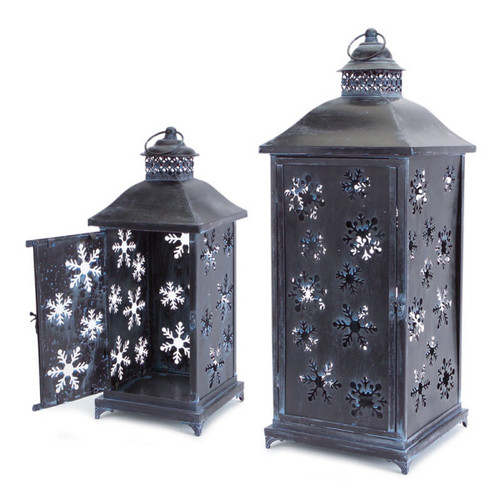 Set of 2 Distressed Versatile Snowflake or Glass Christmas Candle Lanterns - IMAGE 1