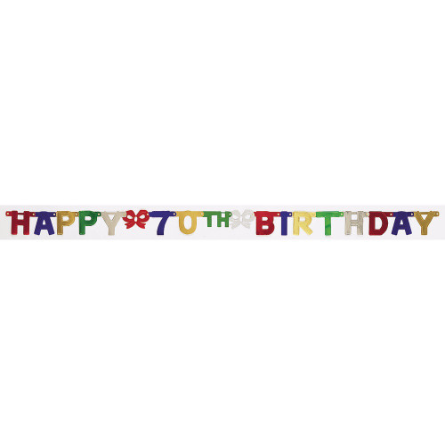 """Club Pack of 12 Vibrantly Colored Happy 70th Birthday Small Party Banners 75"""" - IMAGE 1"""