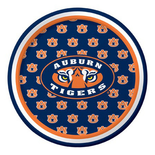 """Club Pack of 96 Blue and Orange NCAA Auburn Tigers Disposable Party Luncheon Plates 7"""" - IMAGE 1"""