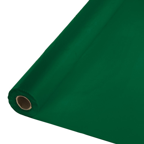 Pack of 2 Hunter Green Disposable Banquet Party Table Cloth Rolls 100' - IMAGE 1