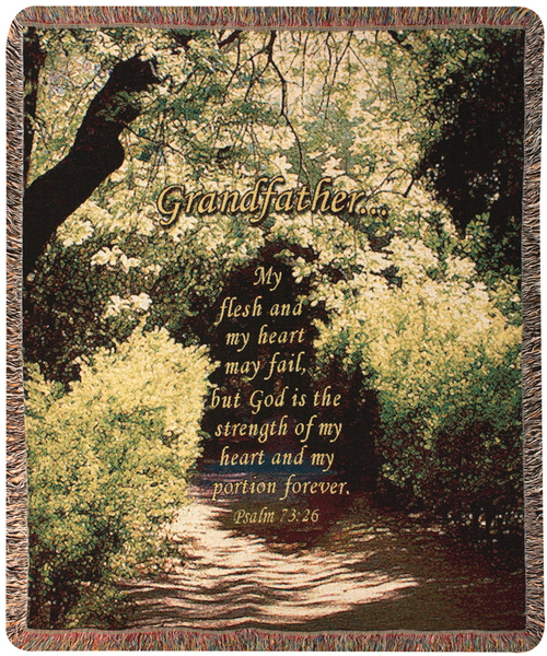 "Religious Grandfather Inspirational Bible Verse Tapestry Throw Blanket 50"" x 60"" - IMAGE 1"