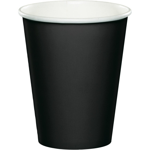 Club Pack of 240 Jet Black Disposable Paper Drinking Party Tumbler Cups 9 oz. - IMAGE 1