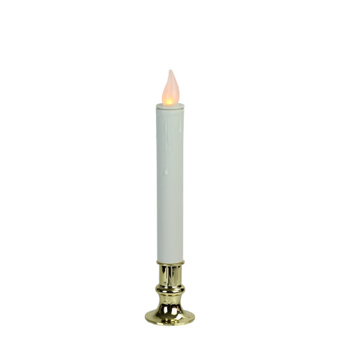 """9.25"""" White LED Battery Operated Christmas Candle Lamp with Gold Base - IMAGE 1"""