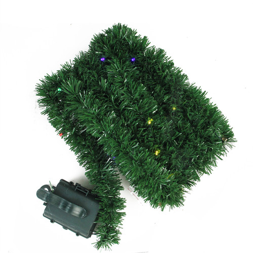 "18' x 2.5"" Pre-Lit Battery Operated Pine Artificial Christmas Garland - Multicolor LED Lights - IMAGE 1"