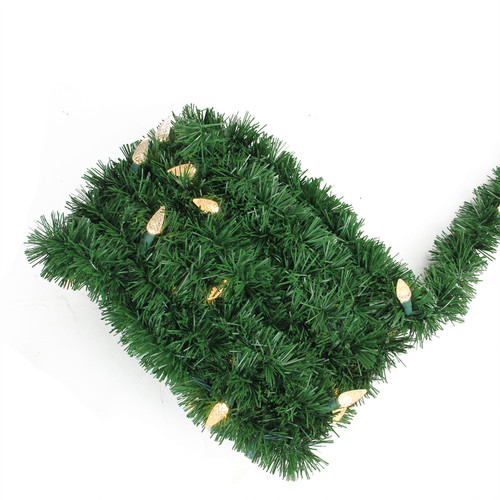 18' Pre-Lit Green Pine Artificial Christmas Garland - Warm White LED C6 Lights - IMAGE 1