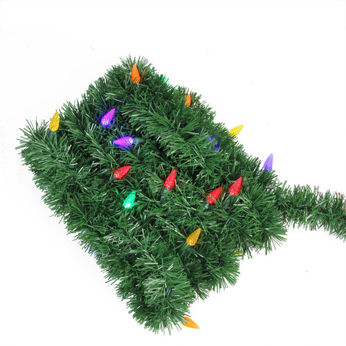 18' Pre-Lit Green Pine Artificial Christmas Garland - Multi LED C6 Lights - IMAGE 1