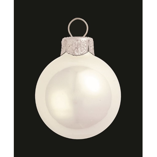 "Pearl Polar White Glass Ball Christmas Ornament 7"" (180mm) - IMAGE 1"