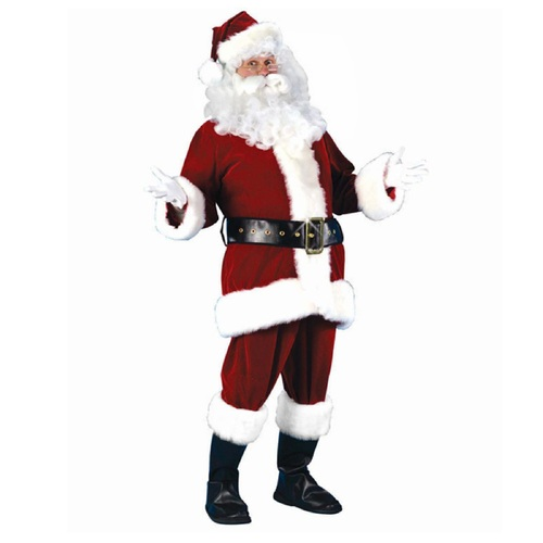 Red and White Plush Velour Santa Claus Adult Christmas Costume Suit - Plus Size - IMAGE 1