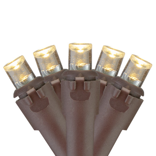 70 Warm White LED Wide Angle Icicle Christmas Lights - 6ft Brown Wire - IMAGE 1