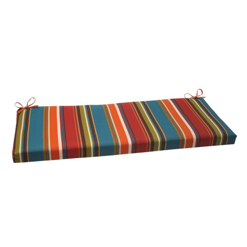 """45"""" Multi-Color Jewel Tone Striped Outdoor Patio Furniture Bench Seat Cushion - IMAGE 1"""