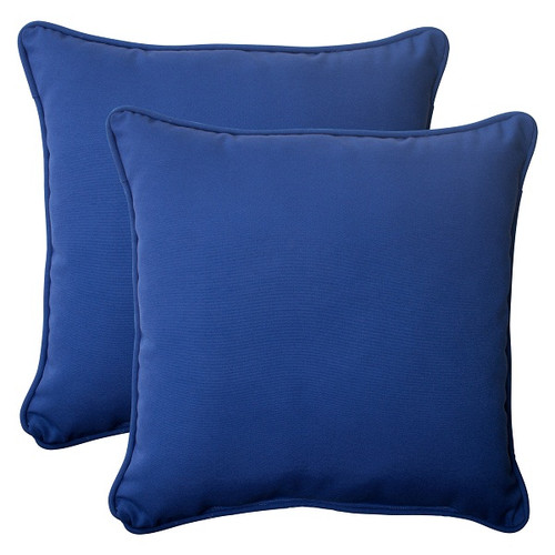 """Set of 2 Navy Blue Solid Outdoor Corded Square Throw Pillows 18.5"""" - IMAGE 1"""
