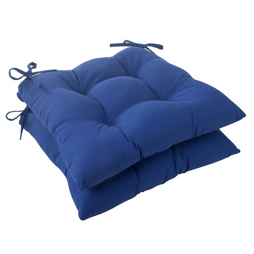 """Set of 2 Navy Blue Solid Outdoor Patio Tufted Seat Cushions 19"""" - IMAGE 1"""